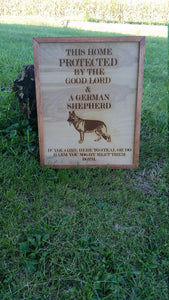 German Shepherd sign, This home is Protected by good Lord and a German Shepherd, Handmade wood Sign, Personalized Signs dog lover gift decor