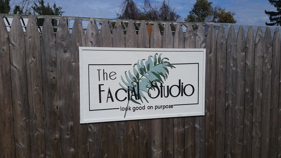 Studio Sign, Facial, Spa, Large Wood Sign, Business Logo, Wood, Laser Cut Out, 3D, Wooden, Extra Large, Personalized, Footstepsinthepast