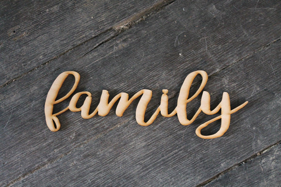 Family, Laser Cut Out, Family Sign, Family Cutout, Family DIY, Wood Word, Craft, Laser Cut Wood Word, Wooden, Decor, Birch