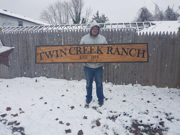 Large Custom Ranch Sign, Over-sized Rustic Business Logo, Wood, Laser Cut Out, 3D, Extra Large, Sign Footstepsinthepast