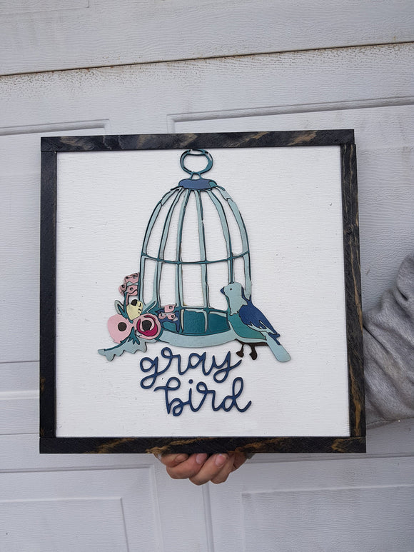 Small Business, Small Shop Sign, Boutique Sign, Bird, Bird Cage, Floral Sign, Wooden, Wood, 3D, Handmade, Customize