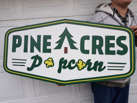 Farm, Popcorn, Small Business Sign, Large Custom Business Sign, Business Logo, Wood, Laser Cut Out, 3D, Extra Large, Sign