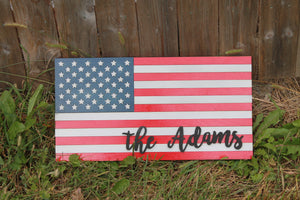 Personalized American Flag Wood Sign, Family Name Sign, Patriotic, Stars and Stripes, Independence Day, Custom, Wood, Laser Cut Out, 3D