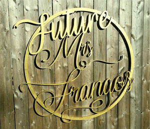 Future Mrs, Hoop Wreath, Wreath, Sign, Large, Wedding, 3D, Wood, Your Words, Custom, Wooden Words, Laser Cut Out, Wood Cut Out