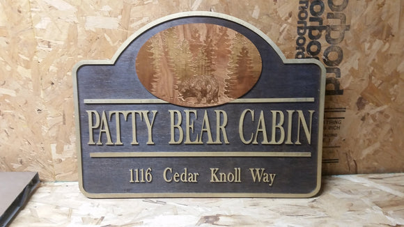 Cabin Sign, Vacation Rental Sign, VRBO, Business Sign, Bear Forest, Sign, 3D, Large, Custom, Your Logo,  Business Logo, Laser Cut, Wood