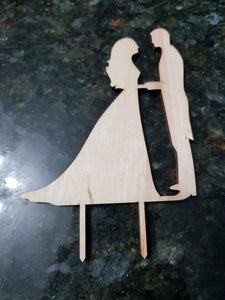 Wedding Cake Topper, Couple, Bride Groom Cake Topper, Works for Cake or Cupcakes, Cutout, DIY, Wood Word, Laser Cut, Wooden, Decor, Birch