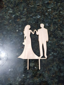 Wedding Cake Topper, Couple, Bride Groom Cake Topper, Holding Hands, Cutout, DIY, Wood Word, Laser Cut, Wooden, Decor, Birch