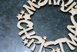 Merry Christmas Wreath Laser Cut, Christmas Cut Out,Wooden, Wood Laser Cutout, DIY, Wood, Silhouette, Craft, Decor, Birch