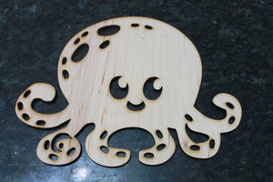 wooden Octopus wood Cut Out Jelly Fish  Nursery Ocean, Beach Theme, Coastal, Coral Reef, Laser Cutout, DIY, Wood, Silhouette, Craft, Decor