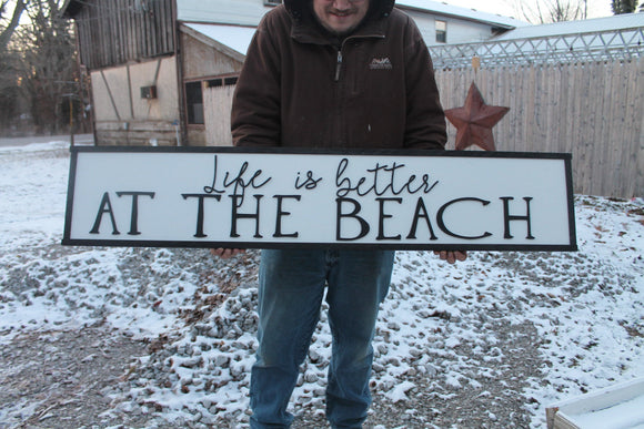Life Is Better At The Beach Large Sign, Coastal, Ocean, Nautical,Large Raised Letter, Large Custom Sign, Over-sized, Wood, Extra Large, Sign