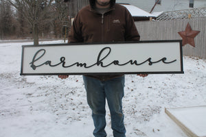 Farmhouse Wood Sign, Extra Large Country Sign ,Large Raised Letter, Over-sized, Wood, Extra Large, Couch Sign, Fireplace Sign, Gift