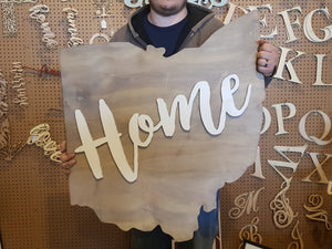 Ohio State Wood Sign, Home Sign,  Raised Letters, Over Sized, Large State Sign, Your State, Custom,  Cutout, Wooden, Wood, Extra Large
