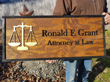Large Custom Attorney Sign, Over-sized Rustic Business Logo, Wood, Laser Cut Out, 3D, Extra Large, Sign Footstepsinthepast