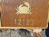 Large beach house sign, Address sign Established Sign, Crab, Exterior, Outdoor, Wooden, Wood, outdoor door beachy theme