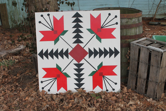Barn Quilt, Tulip, Flower, Floral, Red, Wood Barn Quilt, Barn Decor, Vintage, Rustic, Mosaic, Handmade, Primitive, Wood, Laser Cut Out,Large