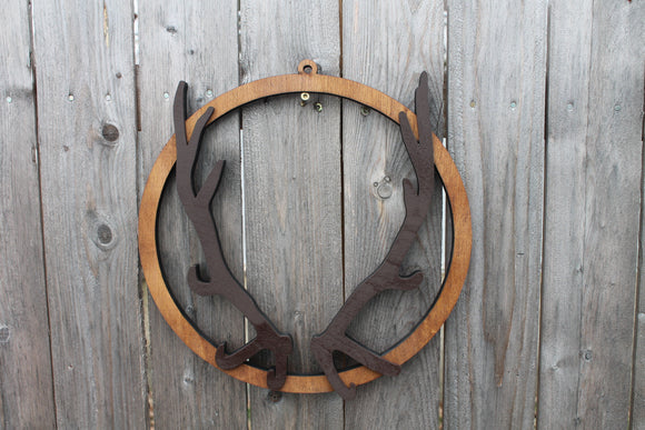 Antler Hoop Wreath, Wreath, Deer, Raised, 3D, Sign, Primitive, Country, Rustic, Wall Hanging, Man Cave, Guys Sign
