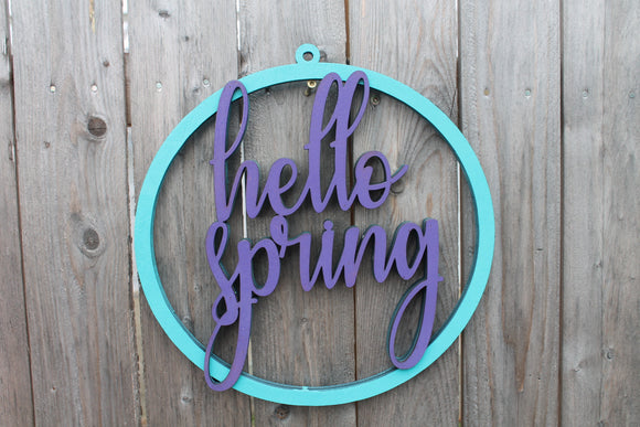 Hello Spring Hoop Wreath, Spring Wreath, Wreath, Spring, Easter, Front Door, Raised Text, 3D, Sign, Primitive, Rustic