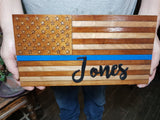 Thin Blue Line, Personalized American Flag Wood Sign, Family Name Sign, Police, Law Enforcement, Wood, Laser Cut Out, Rustic, Primitive