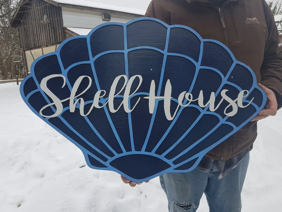 Custom Wood Sign, Beach, Shell, Nautical Sign,Address Sign, Laser cut Sign, Large wood sign, Commercial signage, Handmade, Extra Large