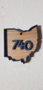 Custom State, Raised Area Code, Raised Sign, Ohio, 740,  3D, Wood, Your Words, Custom, Wooden Words, Laser Cut Out, Wood Cut Out