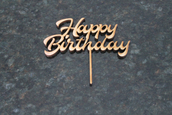 Happy Birthday Cake Topper, Cupcake Topper, Happy Birthday, Cutout, DIY, Wood Word, Laser Cut, Wooden, Decor, Birch