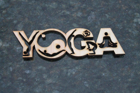 Yoga Cut Out, Mediation, Ying Yang, Word Art, DIY, Wood Word, Laser Cut Wood Word, Wooden, Decor, Wreath, Birch