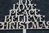 Joy, Love, Peace, Believe, Christmas Tree, Christmas Word Cut Out, Christmas Tree Laser Cutout, DIY, Wood, Silhouette, Craft, Decor, Birch