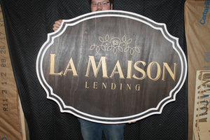 large wood sign, Financial, Banking, Lending, Mortgage Broker Business Sign, Oval, Raised Text, Custom, Small Business Laser Cut, Wood,