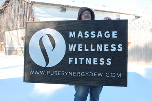 Massage Business Sign, Fitness Sign, Wellness Sign, Large Outdoor, Commercial Business Sign, Wood, 3D, Exterior Sign, Outdoor, Entrance Sign