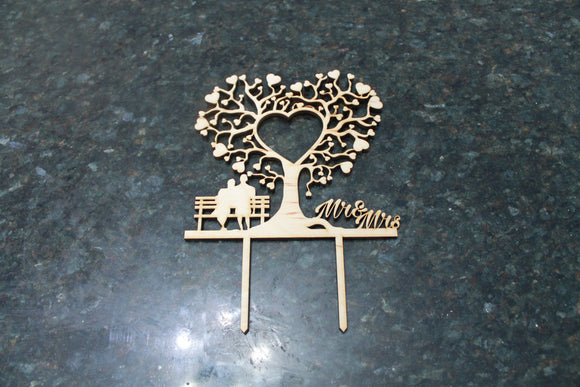 Wedding Cake Topper, Heart, Mr and Mrs, Couple on Bench, Bride Groom Cake Topper, Cutout, DIY, Wood Word, Laser Cut, Wooden, Decor, Birch