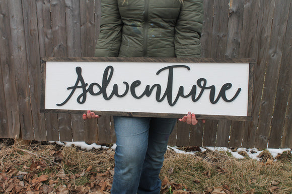 Wood Sign Adventure, Travel, Large, Nursery Wood Sign, Office Sign, Rustic, Primitive, Shabby Chic, Raised Text, Unique Wedding gift