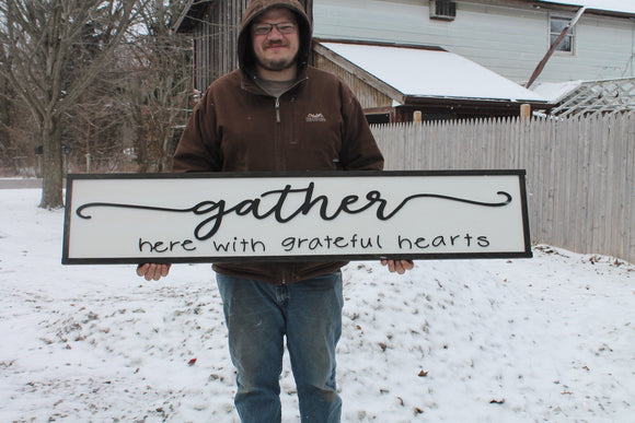 Gather Here with Grateful Hearts,Large Raised Letter, Large Custom Sign, Over-sized, Wood, Extra Large, Couch Sign, Fireplace Sign, Gift