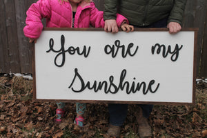 You are my Sunshine, Sunshine, Extra Large 3D Sign, Wood Sign, Large Wood Sign, Over Sized, Raised Text, Sign, Shabby Chic, Rustic, 3D