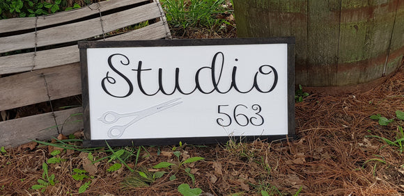 Studio 563, Salon Sign, Large Custom Business Sign, We Use Your Actual Graphic, Business Logo, Wood, Laser Cut Out, 3D, Extra Large