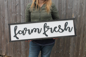 Farm Fresh Wood Sign, Raised Text, Country, Couch Sign, Large, Over Sized Rustic, Primitive, Shabby Chic, 3D, Country Living
