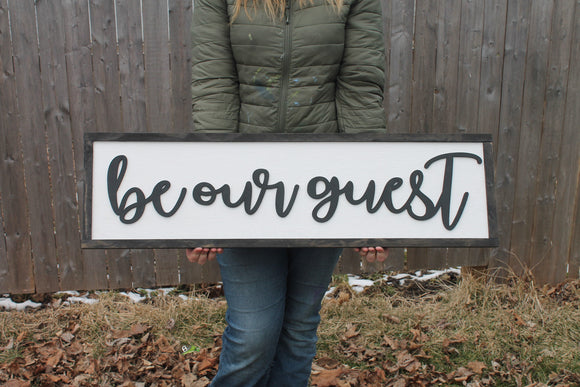Be Our Guest Wood Sign, Raised Text, Guest Room Decor, Couch Sign, Large, Over Sized Rustic, Primitive, Shabby Chic, 3D, Country Living
