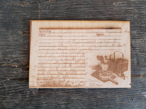 Custom Handwritten, Recipe Card, Engraved, Actual Image, Actual Handwriting, 3x5, Your Handwriting, Keepsake, Hand me Down, In Memory Of