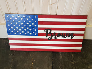 Family Name Flag, Personalized American Flag,  Wood Sign, Patriotic, Stars and Stripes, Independence Day, Custom, Wood, Laser Cut Out, 3D