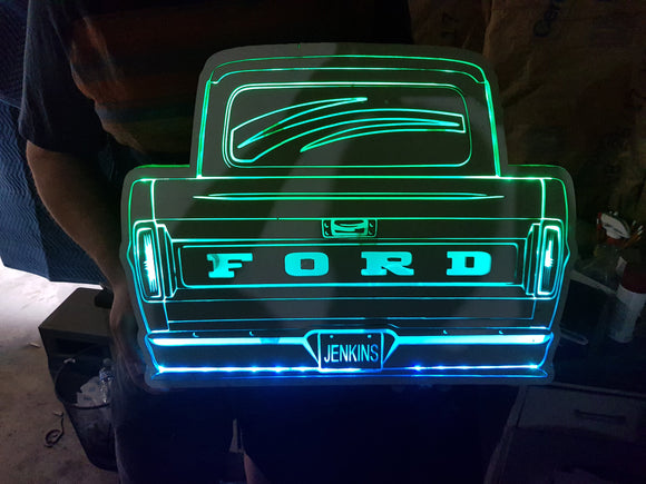 Custom Wood Lit Truck Sign, Car, Your, Custom License Plate, Name Plate,Entrance Light, Neon, Remote, Electric, Light Up, Wood, Wooden
