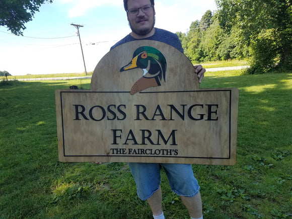 Farm Sign, Woodland Duck, Bird, Poultry, Hobby Farm, Large Custom Business Sign, We Use Your Actual Graphic, Business Logo, Wood, 3D, Large