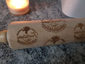 baker Logo. Your Actual Logo, Business Logo,  Rolling Pin, Embossed, Engraved, Wooden Rolling Pin, Cookie Stamp, Laser, Hardwood 10 inch