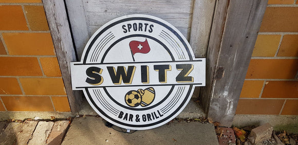 led lit custom wood sign. like a Neon light personalized to your logo or saying bar light