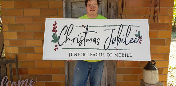 Christmas Party, Christmas Function, Junior League, Sign Large Outdoor, Commercial Business Sign, Wood, 3D, Raised Text, Entrance Sign