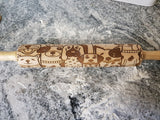 Dog, Puppies, Puppy Face, Rolling Pin, Embossed, Engraved, Wooden Rolling Pin, Cookie Stamp, Laser, Hardwood 10 inch, Pattern, Design