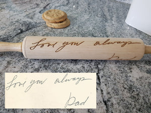 Handwriting, Loved Ones Signature, Rolling Pin, Embossed, Engraved, Wooden Rolling Pin, Cookie Stamp, Laser, Hardwood 10 inch