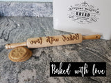 Baked with love, Phrase, Saying, Quote, Rolling Pin, Embossed, Engraved, Wooden Rolling Pin, Cookie Stamp, Laser, Hardwood 10 inch