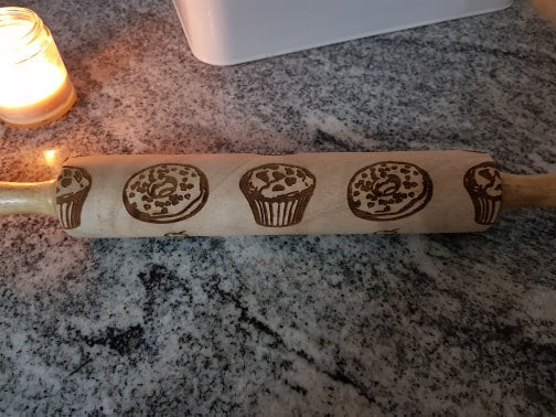 Cupcake, Bagel, Muffin, Sweets, Dessert, Rolling Pin, Embossed, Engraved, Wooden Rolling Pin, Cookie Stamp, Laser, Hardwood 10 inch