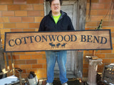 Large Custom Farm Sign, Moose, Over-sized Rustic Business Logo, Wood, Laser Cut Out, 3D, Extra Large, Sign Footstepsinthepast
