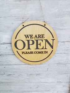 Open Closed Sign Wood, Double Sided, Business Sign, Birch, Door, Hanging, Handmade, Laser Cut
