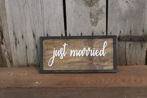 Just Married, Wedding Sign, 3D, Raised Text, Extra Large, Framed Wood, Signature Board, Wedding, Sign, Rustic, Primitive, Barn Wood, Country